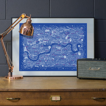Literary London Map (White & Pink on Royal Blue Plike 2016)