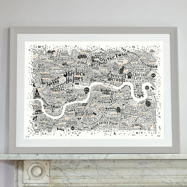 Literary London Map (White, Black and Gold, 2017)