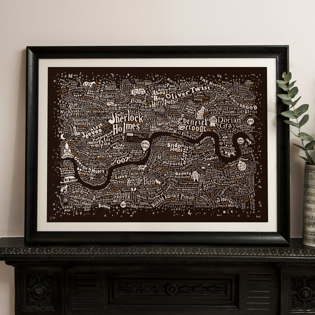 Literary London Map (Bronze & White on Brown Plike 2017)