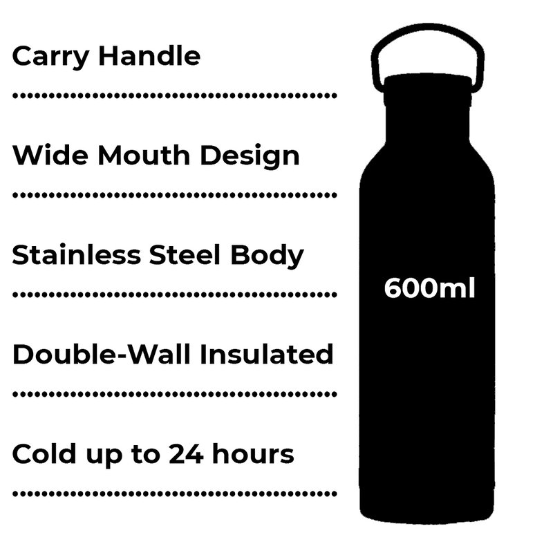 Shole Black Double Walled Insulated Drinks Bottle