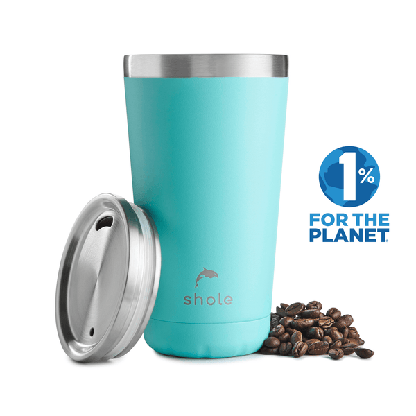 Shole Double Walled Stainless Steel Coffee Cup Aqua 16oz