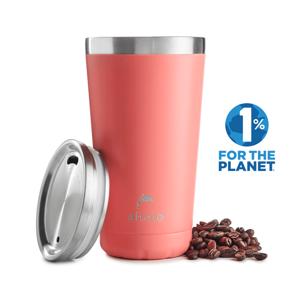 Shole Double Walled Stainless Steel Coffee Cup Coral 16oz