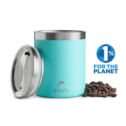 Shole Double Walled Stainless Steel Coffee Cup Aqua 12oz