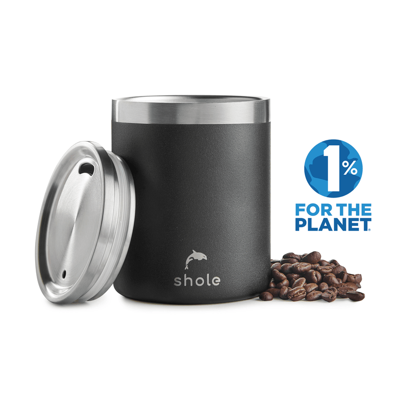 Shole Double Walled Stainless Steel Coffee Cup Black 12oz