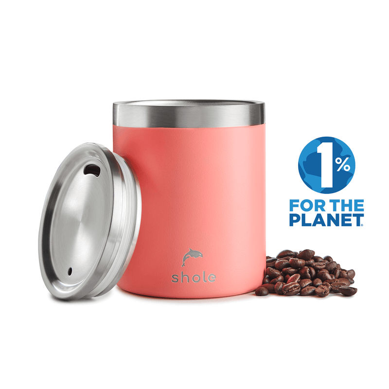 Shole Double Walled Stainless Steel Coffee Cup Coral 12oz