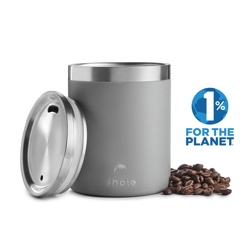 Shole Double Walled Stainless Steel Coffee Cup Grey 12oz