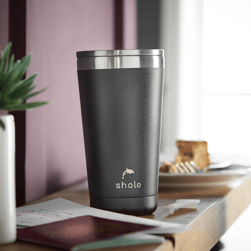 Shole Double Walled Stainless Steel Coffee Cup Black 16oz