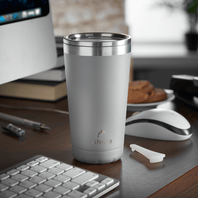 Shole Double Walled Stainless Steel Coffee Cup Grey 16oz