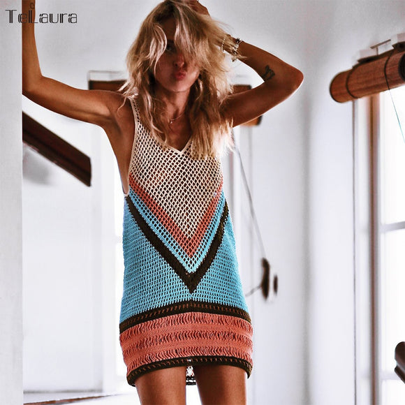 2019 New Sexy Beach Cover Up Bikini Crochet Knitted Swimwear Summer Beach Wear Hollow Out Swimsuit Cover Up Beach Dresses