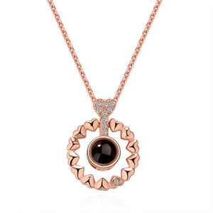 ROUND HEART SHAPE LOVE PROJECTION NECKLACE WITH BOX