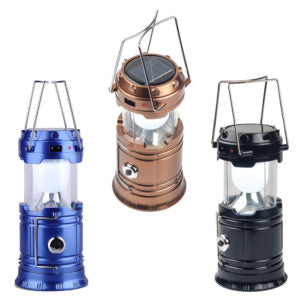 LED SOLAR RECHARGEABLE CAMPING LANTERN WITH FLASHLIGHT