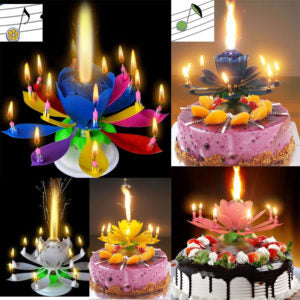 Musical Lotus Flower Rotating Birthday Candle