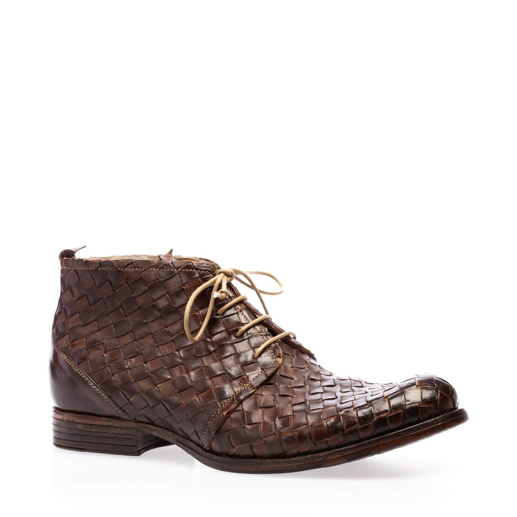 Brown calfskin braided lace-up ankle boot