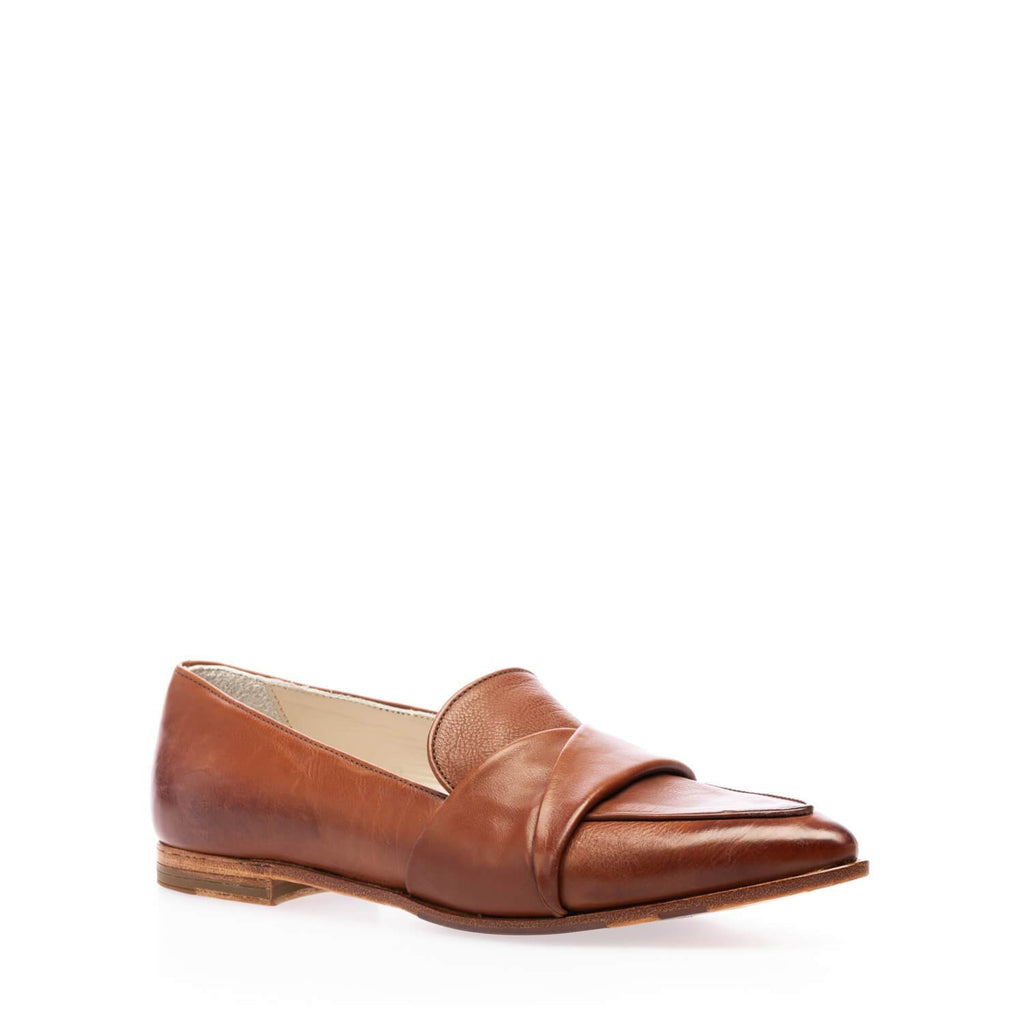 Brown calfskin moccasin