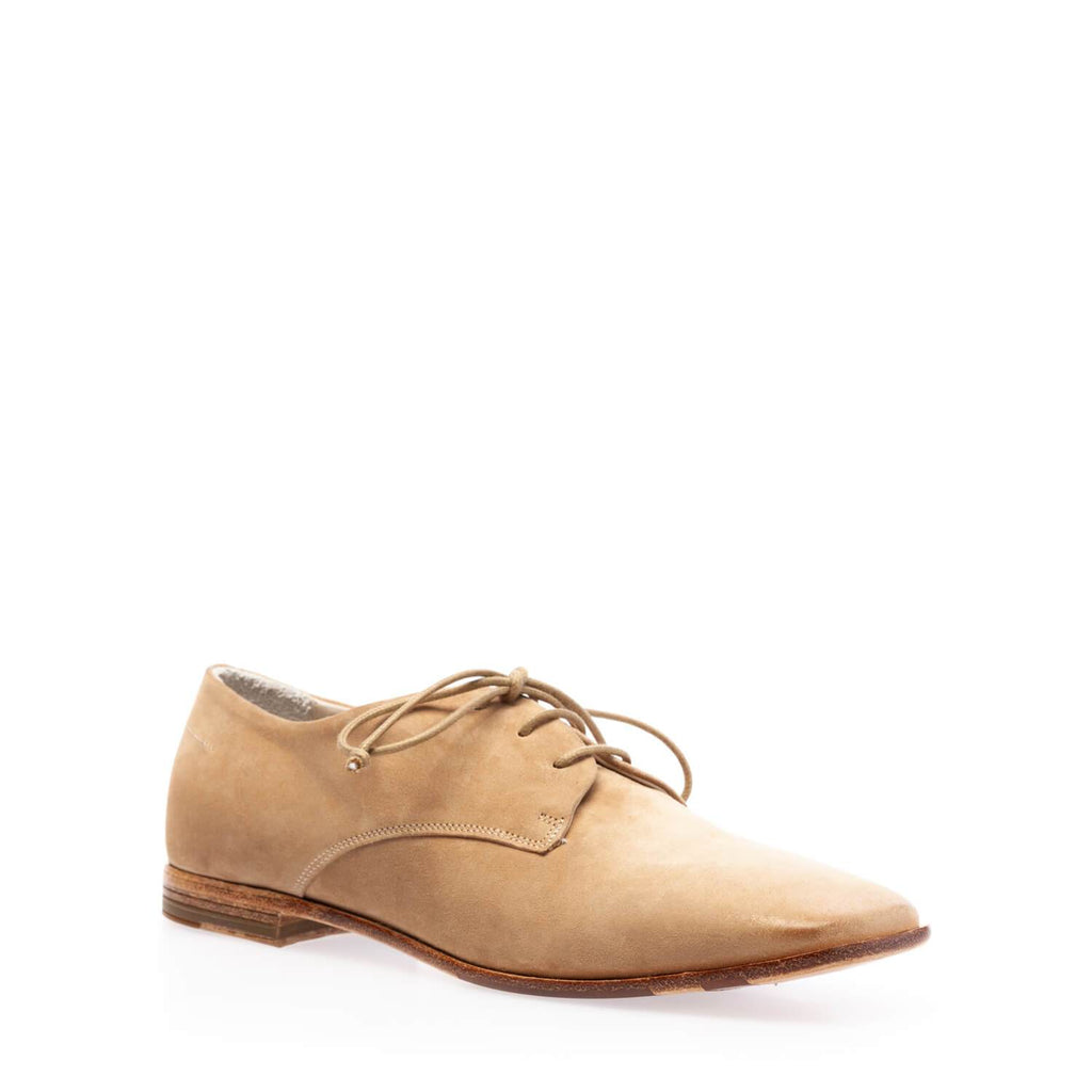 Taupe suede low lace-up shoe