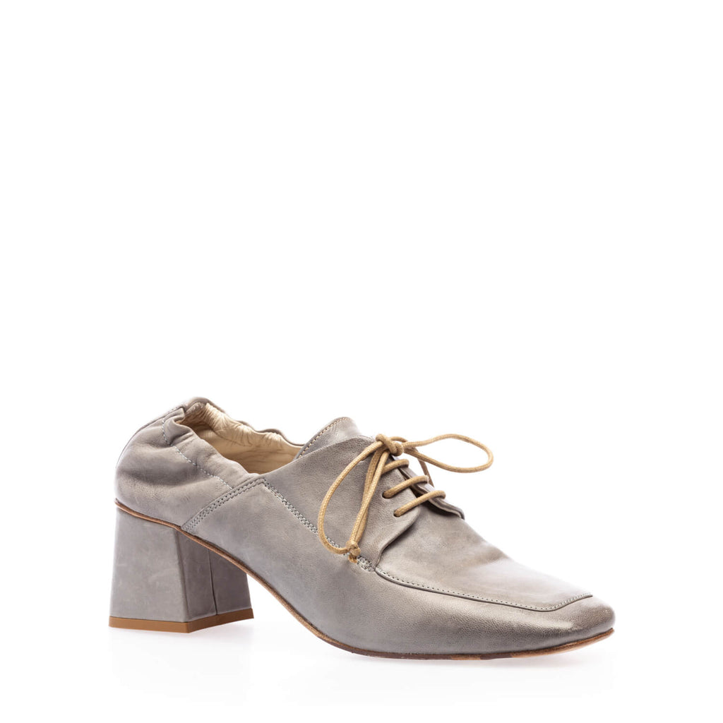 Jeans calfskin reversed heeled lace-up shoe
