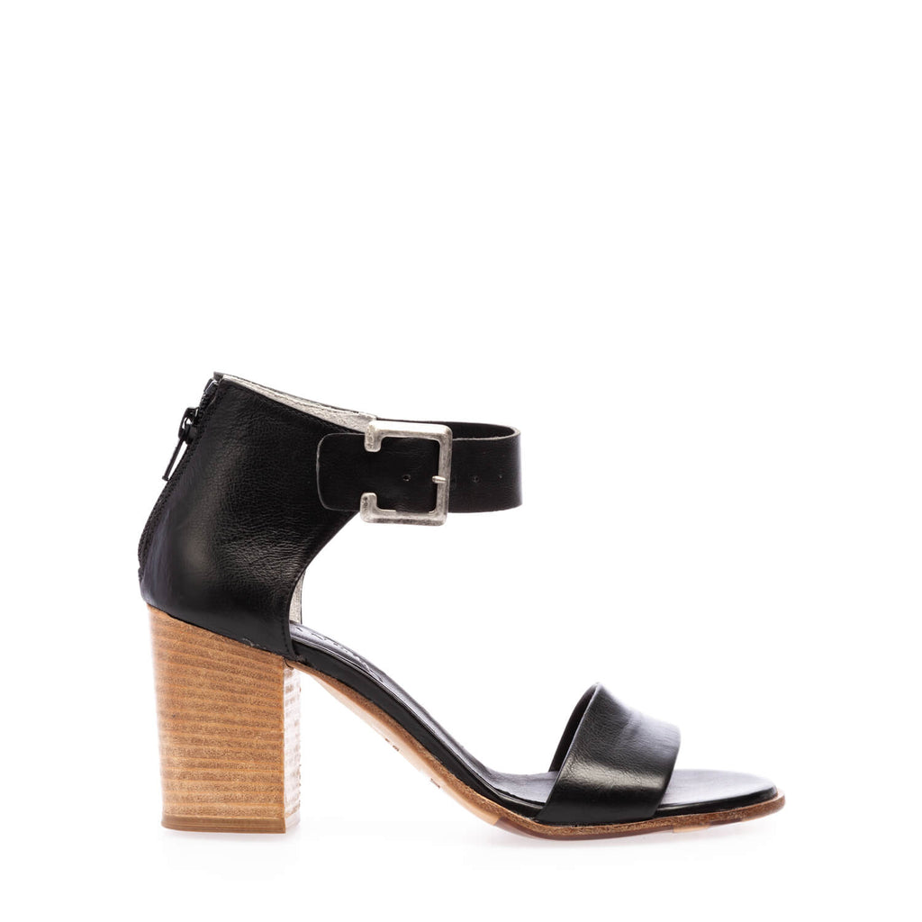 Black calfskin high heel sandal