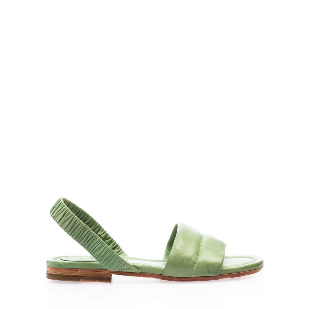 Sandal con elastico dietro in vitello greenery