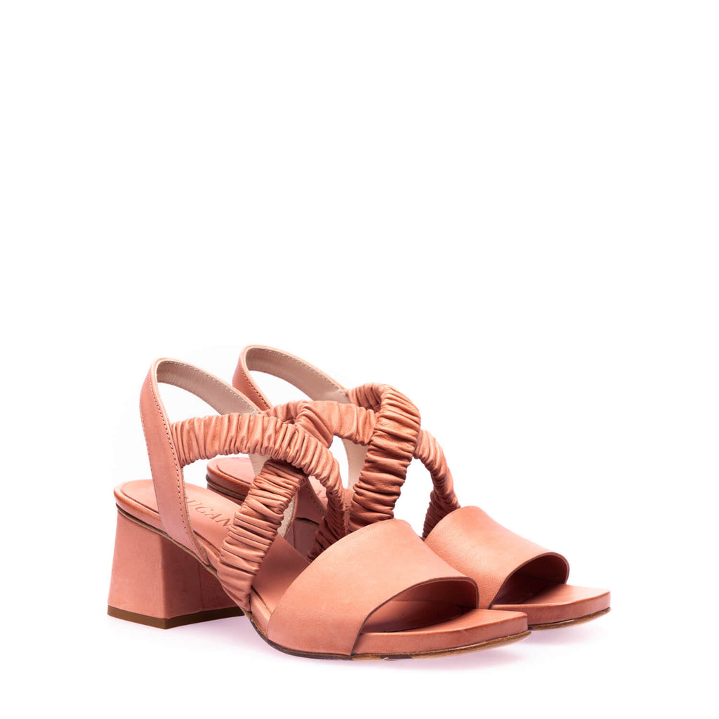 Pink calfskin heeled sandal with elastic bands