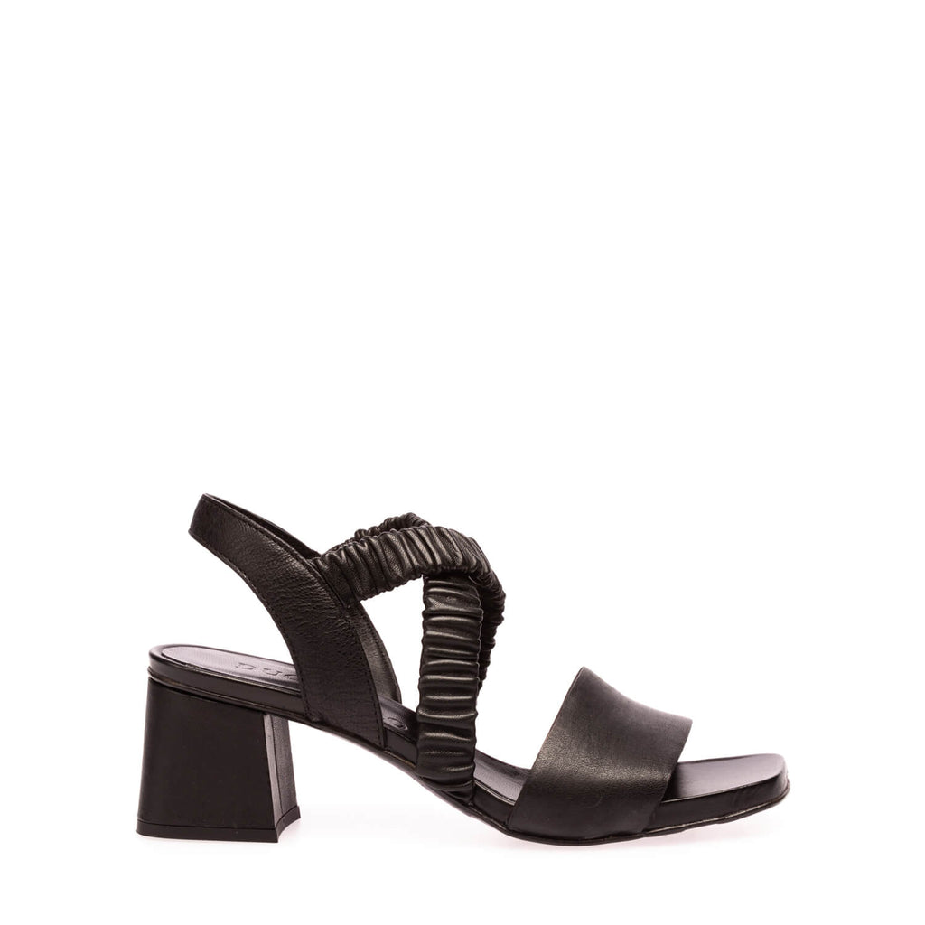 Black calfskin heeled sandal with elastic bands