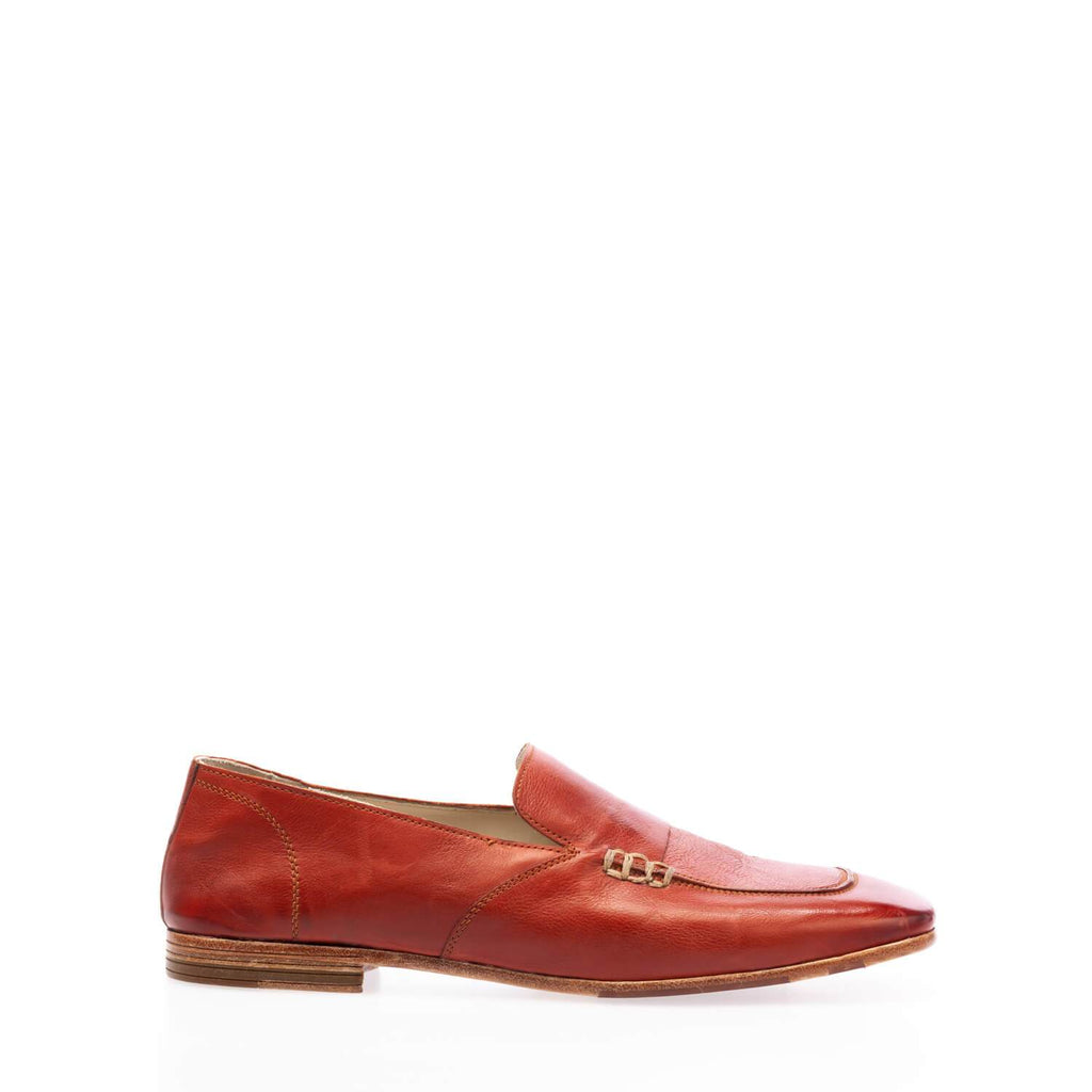 Red brick calfskin square toe moccasin