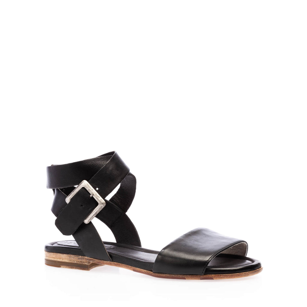 Black calfskin  flat sandal with ankle straps