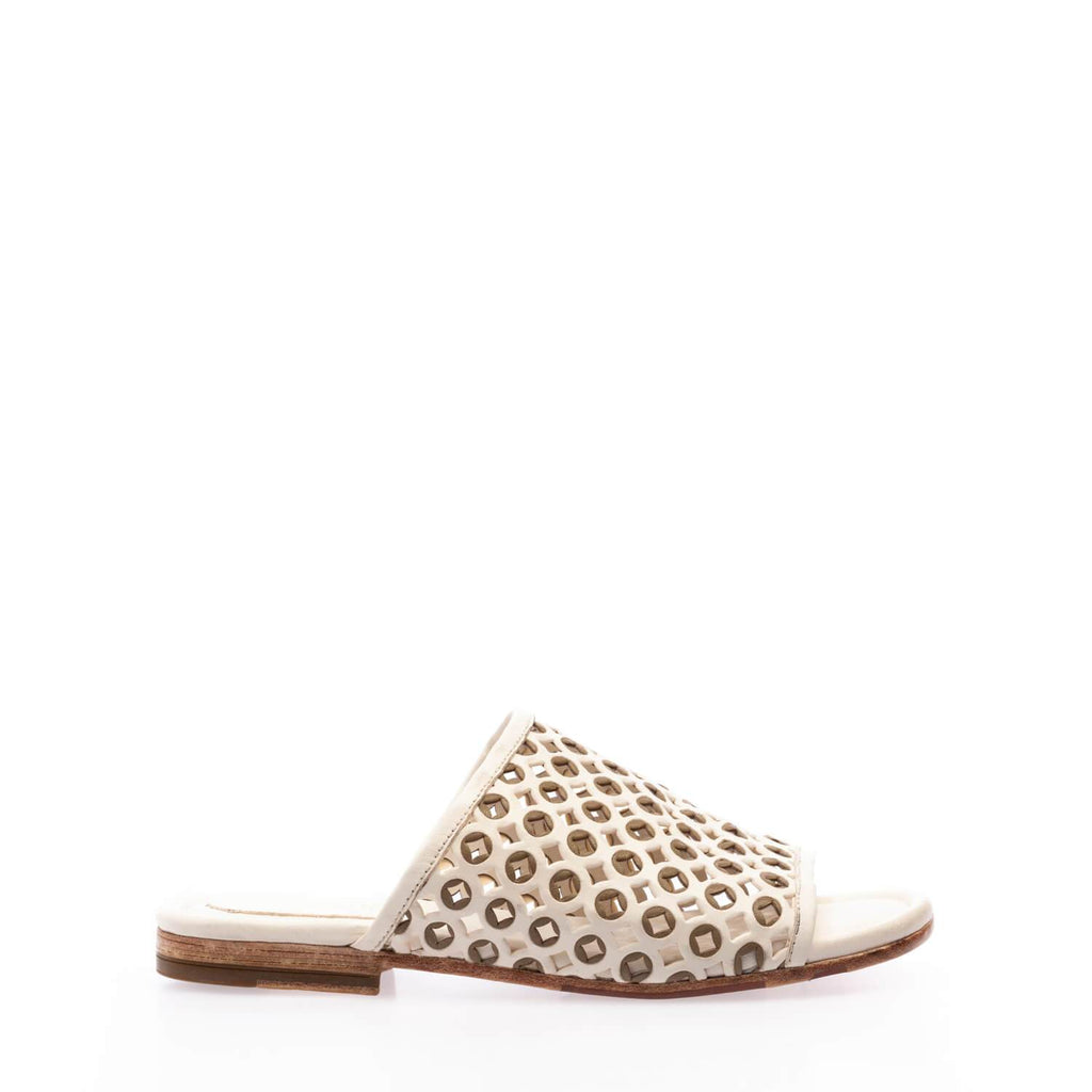 Off white-kaki calfskin slip-on sandal