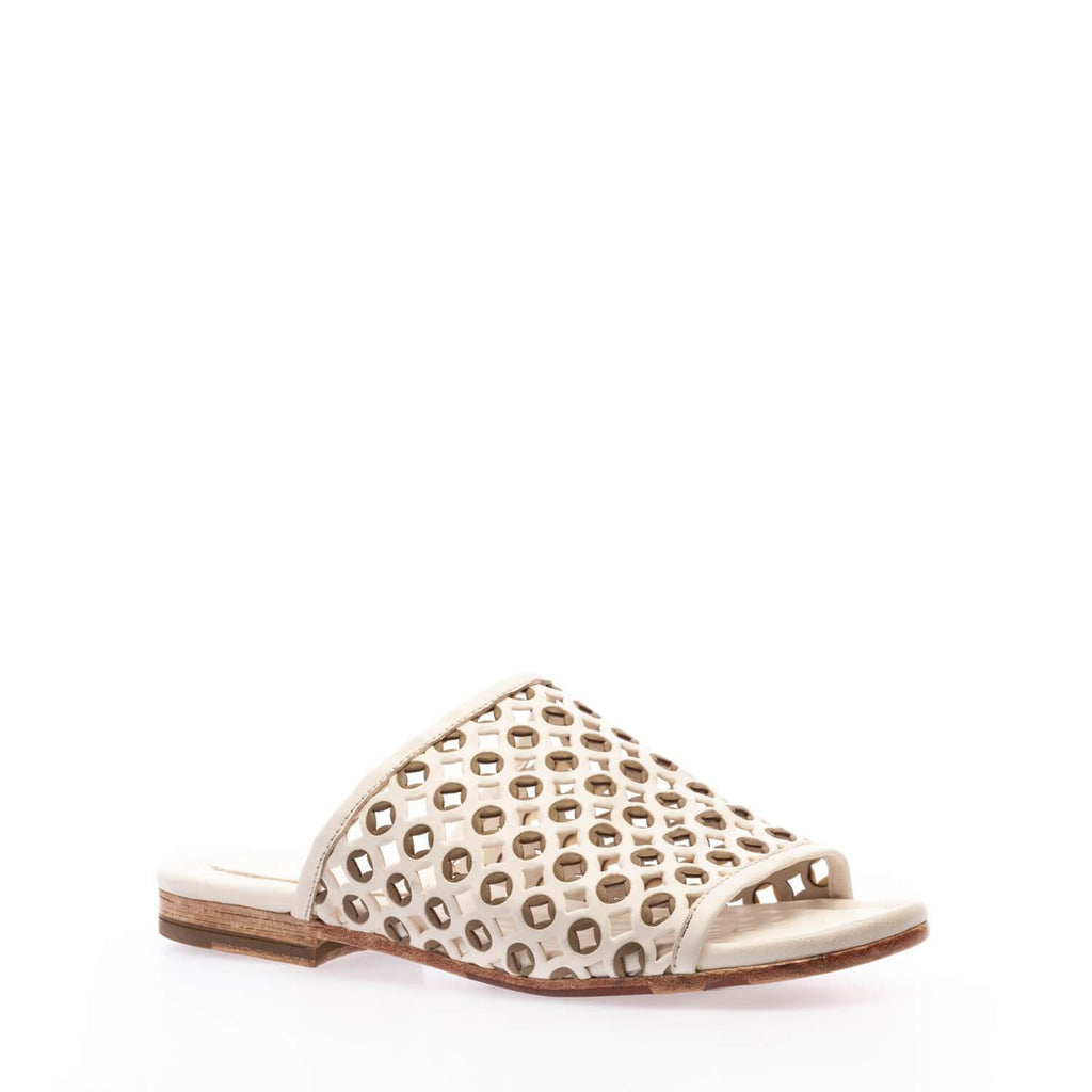 Off white-kaki calfskin laser-cutting slip-on sandal