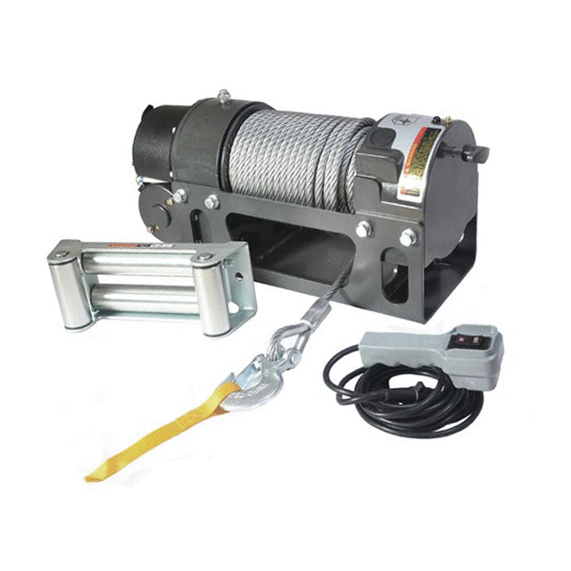 G21-001-015WR Warrior Winch 12000lb 12v Worm Drive and Mount Plate