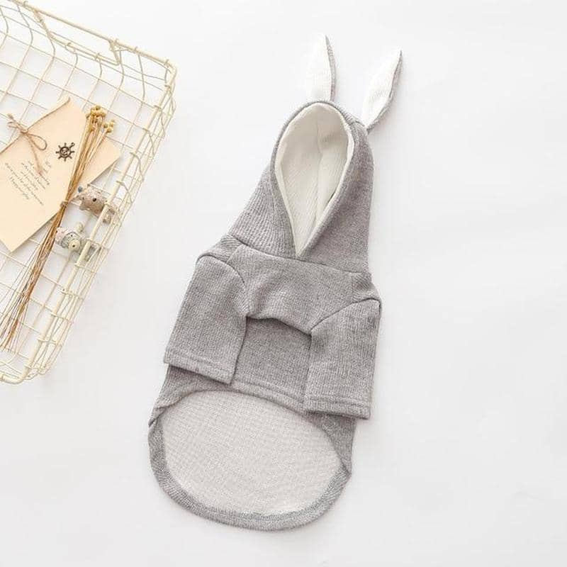 Grey Bunny Rabbit Hoodie for dogs, dog clothes, dogs clothes, dog clothing, small dog clothes, dogs clothing, dog clothes female, dogs clothes boy, Dogs Clothes For Small To Medium Dog, KissPaw, BowWow Shop - Top Dog Outfits Store