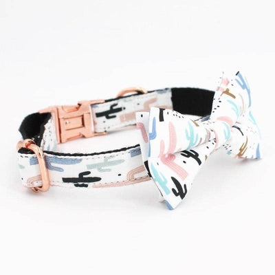 Dog Cactus Bow-Tie Collar & Leash Set | Small to Medium Dog Fashion Clothing | BowWow shop Online