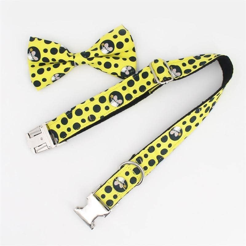 Cheesy Bow-Tie Collar & Leash Set for dogs, dog clothes, dogs clothes, dog clothing, small dog clothes, dogs clothing, dog clothes female, dogs clothes boy, Dogs Clothes For Small To Medium Dog, Free Sunday, BowWow Shop - Top Dog Outfits Store