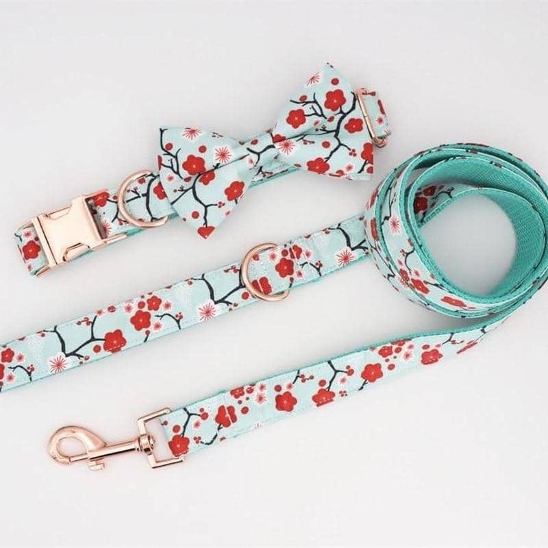 Cherry Blossom Bow-tie Collar & Leash Set for dogs, dog clothes, dogs clothes, dog clothing, small dog clothes, dogs clothing, dog clothes female, dogs clothes boy, Dogs Clothes For Small To Medium Dog, Free Sunday, BowWow Shop - Top Dog Outfits Store