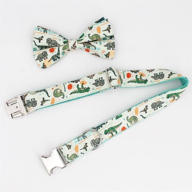 Dog Dinosaur Bow-Tie Collar & Leash Set | Small to Medium Dog Fashion Clothing | BowWow shop Online