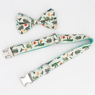 Dinosaur Bow-Tie Collar & Leash Set for dogs, dog clothes, dogs clothes, dog clothing, small dog clothes, dogs clothing, dog clothes female, dogs clothes boy, Dogs Clothes For Small To Medium Dog, Free Sunday, BowWow Shop - Top Dog Outfits Store