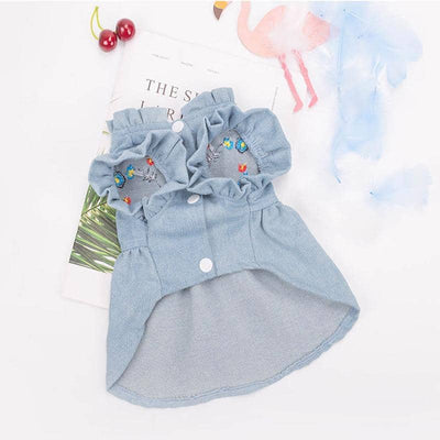 Dog Embroidered Denim Dress | Small to Medium Dog Fashion Clothing | BowWow shop Online