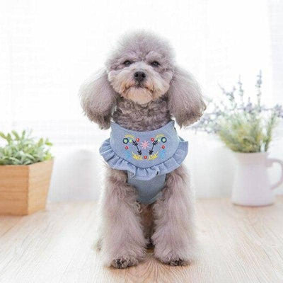 Dog Embroidered Denim Harness & Leash | Small to Medium Dog Fashion Clothing | BowWow shop Online