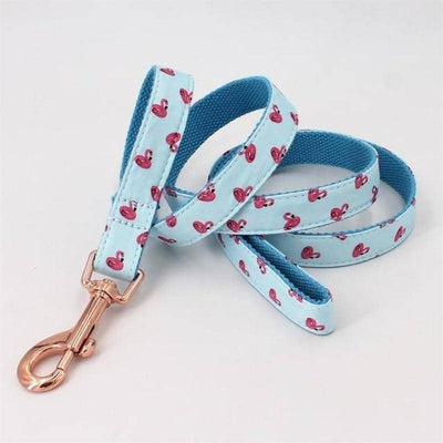Flamingo Love Bow-Tie Collar & Leash Set for dogs, dog clothes, small dog clothes, dogs clothing, dog clothes female, dogs clothes boy, Dogs Clothes For Small To Medium Dog, Free Sunday, BowWow Shop - Top Dog Clothing Store