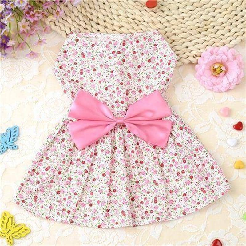 Dog Floral Frock with Large Bow | Small to Medium Dog Fashion Clothing | BowWow shop Online