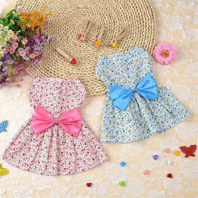Floral Frock with Large Bow for dogs, dog clothes, dogs clothes, dog clothing, small dog clothes, dogs clothing, dog clothes female, dogs clothes boy, Dogs Clothes For Small To Medium Dog, HolaPet, BowWow Shop - Top Dog Outfits Store