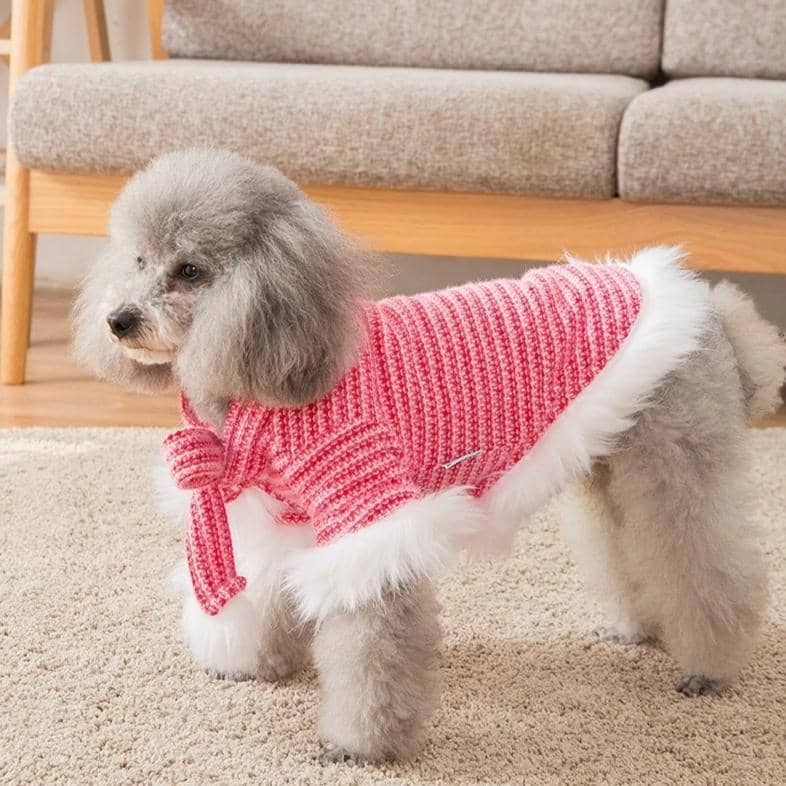 Dog Fuchsia Fur-Trim Sweater | Small to Medium Dog Fashion Clothing | BowWow shop Online