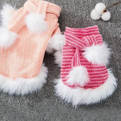 Peach Fur-Trim Sweater for dogs, dog clothes, dogs clothes, dog clothing, small dog clothes, dogs clothing, dog clothes female, dogs clothes boy, Dogs Clothes For Small To Medium Dog, Friends, BowWow Shop - Top Dog Outfits Store
