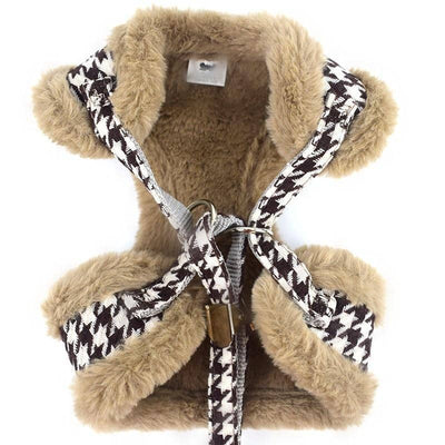 Hounds-tooth & Faux Fur Harness & Leash for dogs, dog clothes, dogs clothes, dog clothing, small dog clothes, dogs clothing, dog clothes female, dogs clothes boy, Dogs Clothes For Small To Medium Dog, PeTalk, BowWow Shop - Top Dog Outfits Store