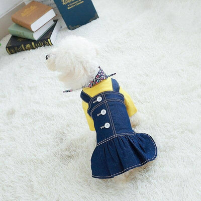 Long Dog Denim Dress for dogs, dog clothes, dogs clothes, dog clothing, small dog clothes, dogs clothing, dog clothes female, dogs clothes boy, Dogs Clothes For Small To Medium Dog, Best For Pet, BowWow Shop - Top Dog Outfits Store