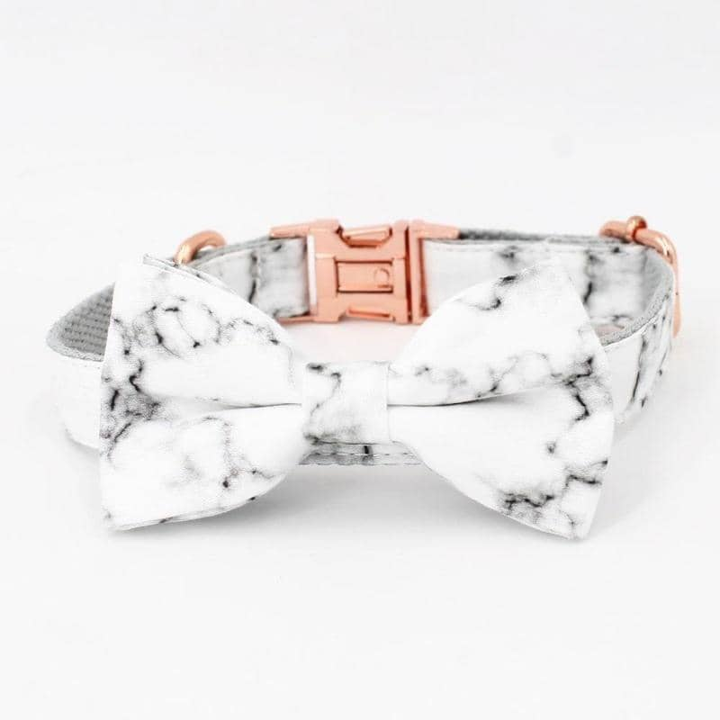 Marble & Rose Gold Bow-Tie Collar & Leash Set for dogs, dog clothes, small dog clothes, dogs clothing, dog clothes female, dogs clothes boy, Dogs Clothes For Small To Medium Dog, Free Sunday, BowWow Shop - Top Dog Clothing Store