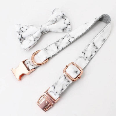Marble & Rose Gold Bow-Tie Collar & Leash Set for dogs, dog clothes, dogs clothes, dog clothing, small dog clothes, dogs clothing, dog clothes female, dogs clothes boy, Dogs Clothes For Small To Medium Dog, Free Sunday, BowWow Shop - Top Dog Outfits Store
