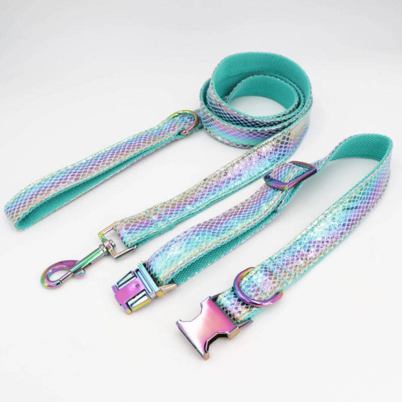 Metallic Mermaid Collar & Leash for dogs, dog clothes, dogs clothes, dog clothing, small dog clothes, dogs clothing, dog clothes female, dogs clothes boy, Dogs Clothes For Small To Medium Dog, Free Sunday, BowWow Shop - Top Dog Outfits Store