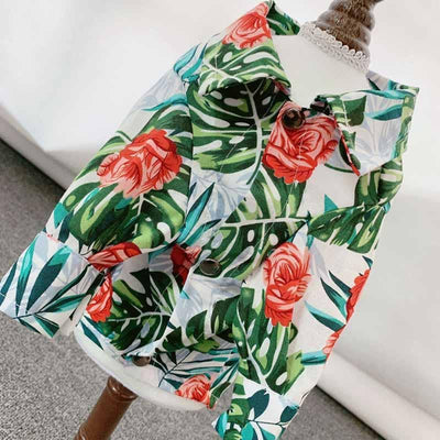 Midi Rose & Palm Shirt for dogs, dog clothes, dogs clothes, dog clothing, small dog clothes, dogs clothing, dog clothes female, dogs clothes boy, Dogs Clothes For Small To Medium Dog, PetMundo, BowWow Shop - Top Dog Outfits Store