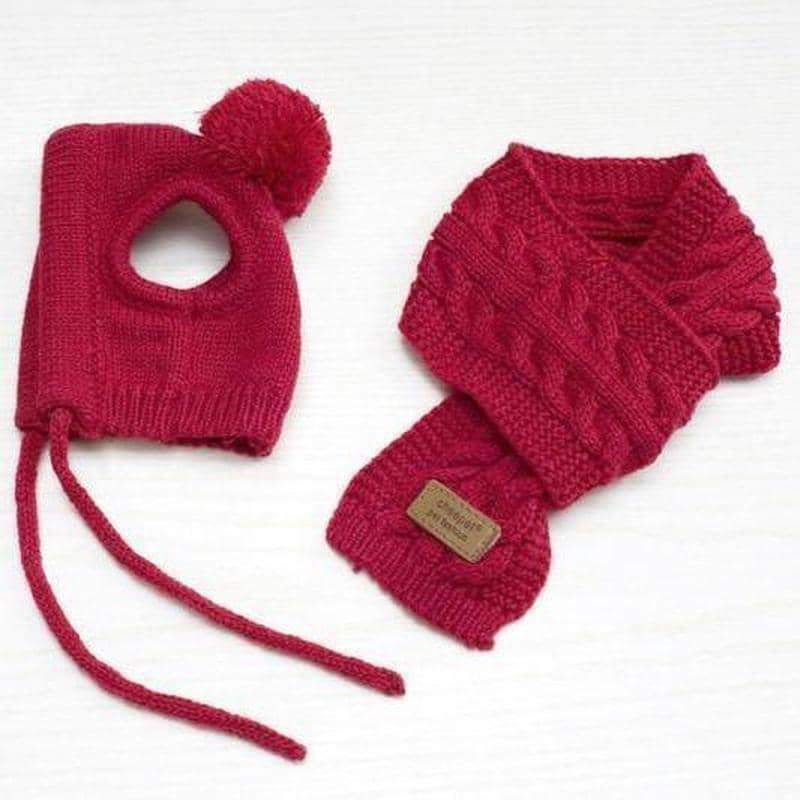 Dog Pom-Pom Hat & Scarf | Small to Medium Dog Fashion Clothing | BowWow shop Online