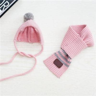 Dog Primary Stripe Pom-Pom Hat & Scarf | Small to Medium Dog Fashion Clothing | BowWow shop Online